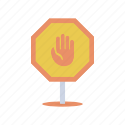 construction, danger, hand, sign, stop, traffic, warning icon