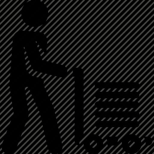 deliver, delivery, move, service, trolley icon