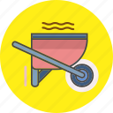 architecture, construction, equipment, property, repair, wheelbarrow, work icon
