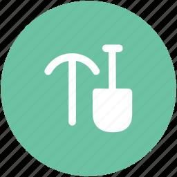 axe, construction tool, gardening tool, hand tool, shovel and axe, spade icon