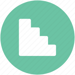 downward, indoor stairs, staircase, stairs, stairway, steps, upward icon