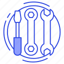 garage tools, plumbing, repairing tools, screwdriver, service tools, wrench icon
