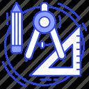 drafting tools, drawing tools, engineering tools, geometrical tools, tools icon