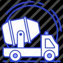 cement truck, concrete mixer, construction vehicle, mixer truck, transit mixer icon