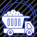 dump truck, garbage truck, loaded dump, rubbish truck, waste truck icon