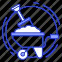 construction cart, construction tools, digging, gardening tool, hand cart, wheelbarrow icon