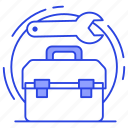 repair kit, repairing box, tackle box, toolbox, toolkit icon