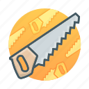 building, carpenter, construction, handsaw, saw, tool, tools icon