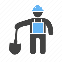builder, construction, engineer, labor, man, shovel, worker icon