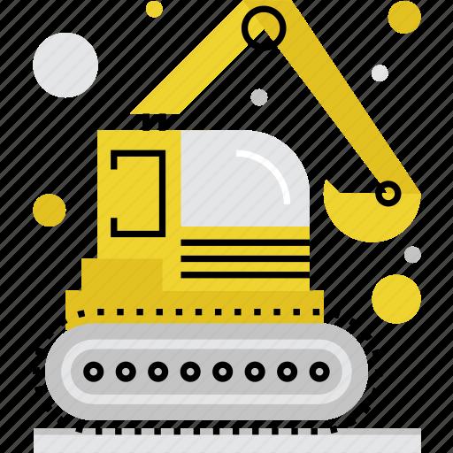 bagger, digger, dredger, excavator, mechanical, power, shovel icon