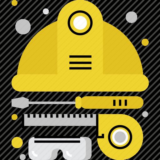 equipment, foreman, helmet, safety, tools, work, worker icon