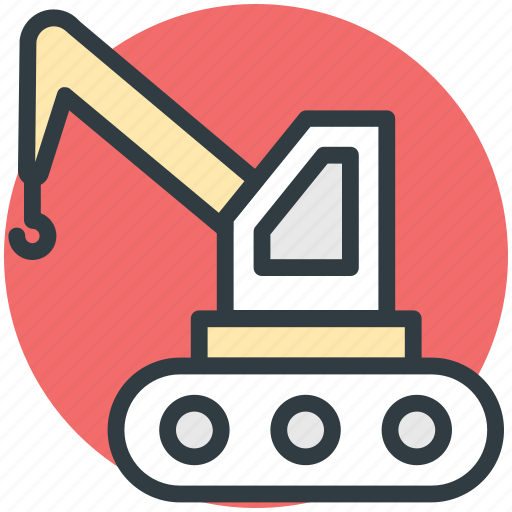 bulldozer, crane, excavator, heavy equipment, heavy machinery, lifter icon