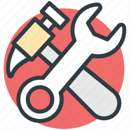 construction tool, hammer, hammer and wrench, repair tool, wrench tool icon