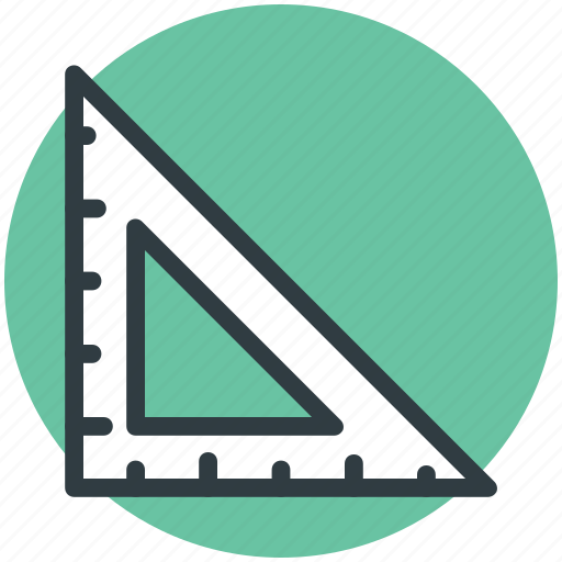 drafting triangle, measure, measurement, measuring, ruler, tool icon