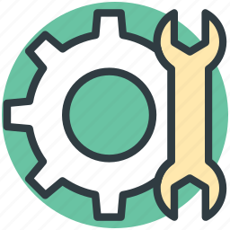 cog, custom, gear, preferences, settings, wrench gear icon