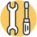 garage tool, mechanic, repair tool, screwdriver, wrench icon