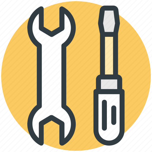 garage tool, mechanic, repair tool, screwdriver, wrench icon
