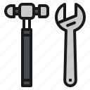 repair, tool, construction, hammer, wrench icon