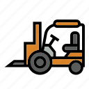 construction, fork, fork lift, heavy equipment, rough, terrain, truck icon