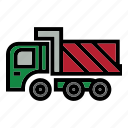 bulldozer, construction, heavy equipment, roller, rough, terrain, truck icon