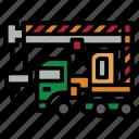 bulldozer, construction, crane, fork, roller, terrain, truck icon