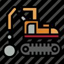bulldozer, construction, hammer, heavy equipment, roller, rough, truck icon