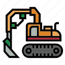 bulldozer, construction, excavator, heavy equipment, rough, terrain, truck icon