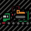 bulldozer, construction, fork, roller, rough, terrain, truck icon