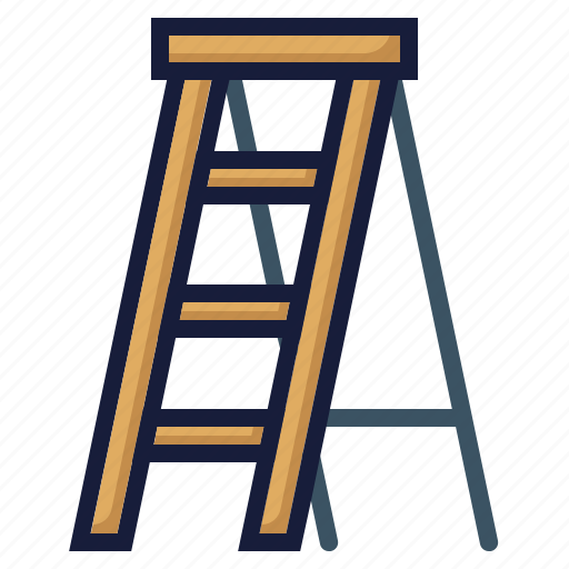 architecture, construction, equipment, industry, labor, ladder, stepladder icon