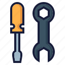 architecture, construction, industry, labor, mechanic, screwdriver, spanner icon