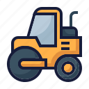 architecture, construction, flattener, industry, labor, soil compactor, steamroller icon