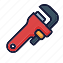 architecture, construction, equipment, industry, labor, spanner, wrench pipe icon