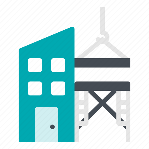 building, construction, crane, scaffolding icon