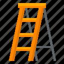 architecture, construction, equipment, industry, labor, ladder, stepladder