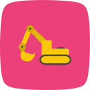 bulldozer, crane, digger, excavator, machine icon