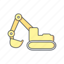 bulldozer, digger, excavator, machine icon