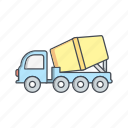 concrete, construction, machine, mixer icon