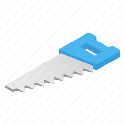 construction, equipment, hacksaw, isometric, saw, tool, work icon