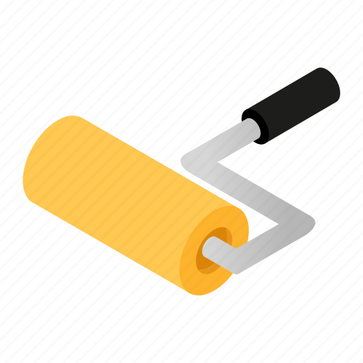 Isometric, color, tool, work, paint, renovation, roller icon