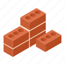 stone, solid, work, isometric, cement, wall, brick