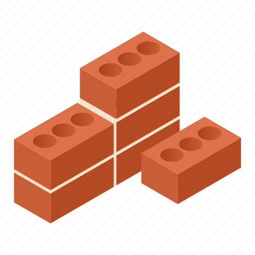 brick, cement, isometric, solid, stone, wall, work icon