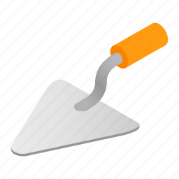 equipment, filling, hardware, isometric, plastering, tool, trowel icon