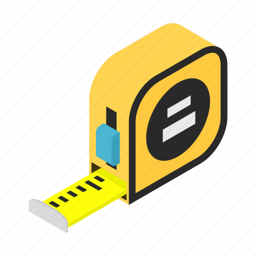 builders, distance, isometric, measure, roulette, steel, tape icon