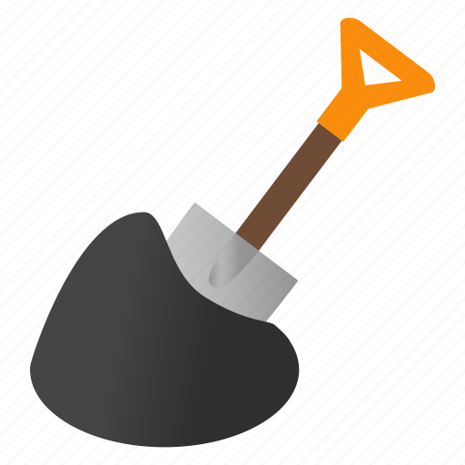 agriculture, drawing, farm, isometric, shovel, steel, tool icon