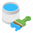 isometric, color, gloss, bucket, paint, brush, can