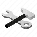 hammer, isometric, profession, spanner, tool, work, wrench