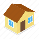 isometric, concept, mortgage, house, apartment, residential, home