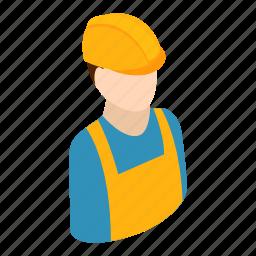 builder, engineer, hat, isometric, professional, repairman, worker icon