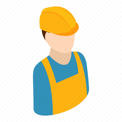 Builder, engineer, hat, isometric, professional, repairman, worker icon - Download on Iconfinder
