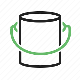bucket, design, house construction, interior, paint, paint box, wall icon